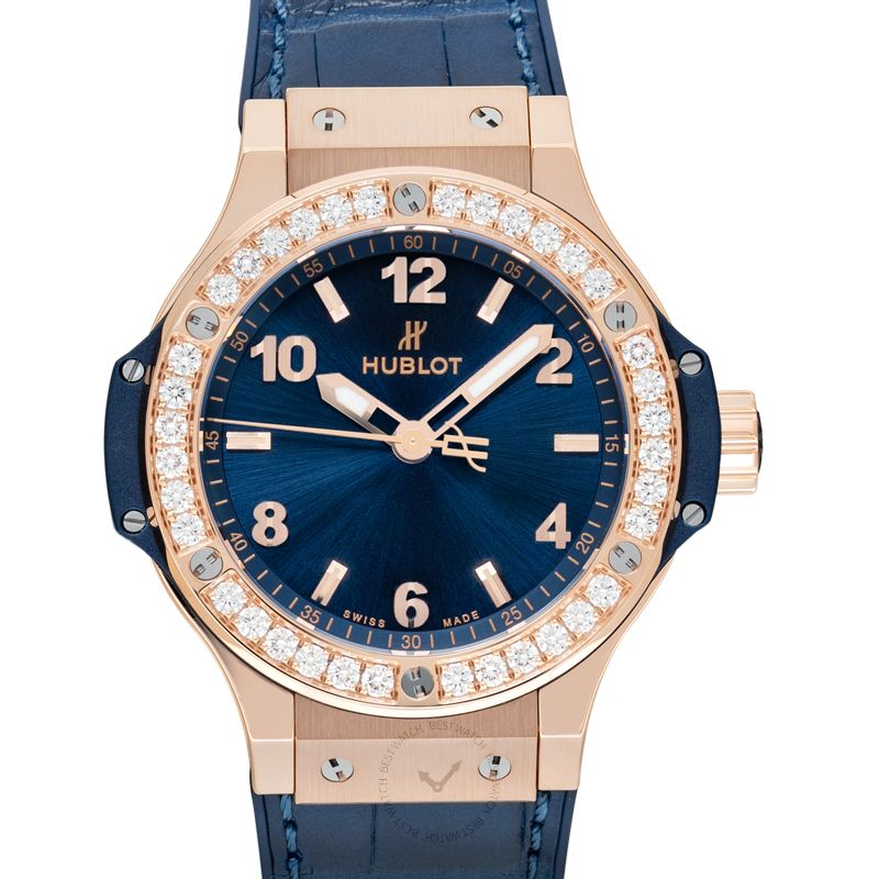 Hublot Big Bang Gold Blue Diamonds Quartz Blue Dial 18K Gold Ladies Watch