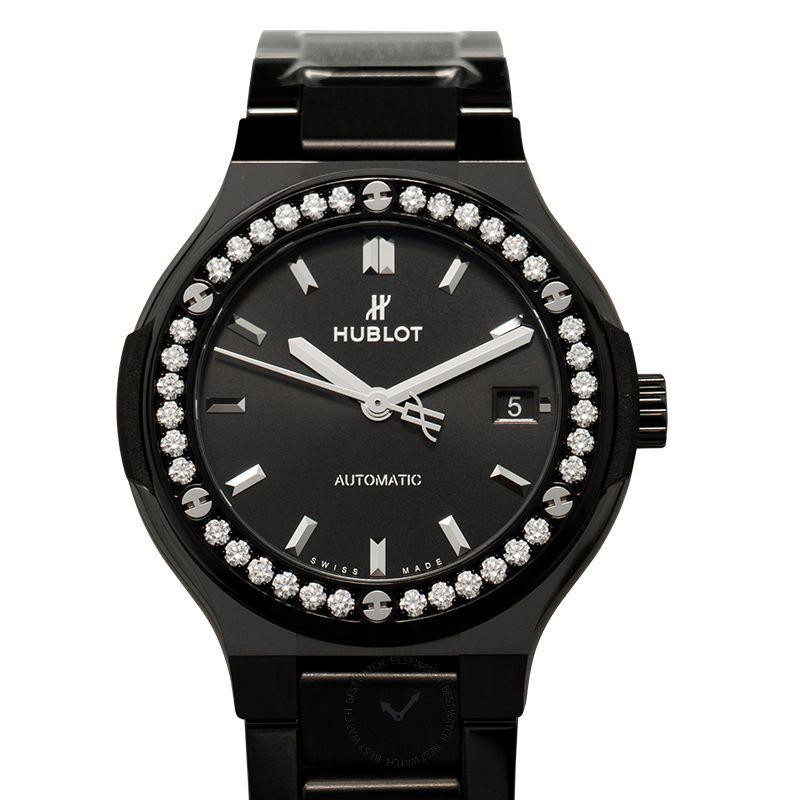 Hublot Classic Fusion Black Magic Bracelet Diamonds Automatic Black Dial Ceramic Ladies Watch