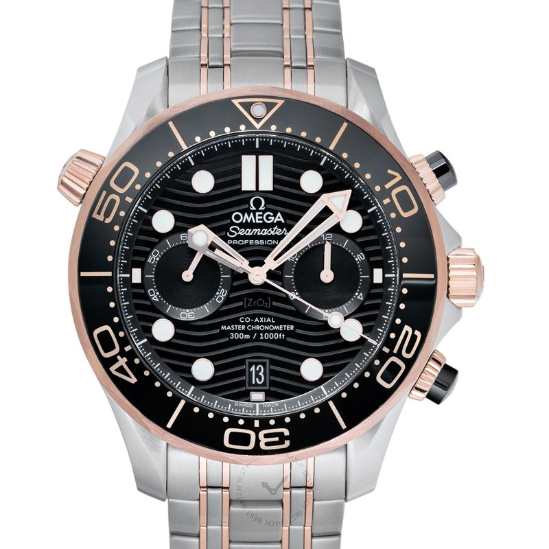 Omega Seamaster Co-Axial Master Chronometer Chronograph 44 mm Automatic Black Dial Sedna™ Gold Men's Watch