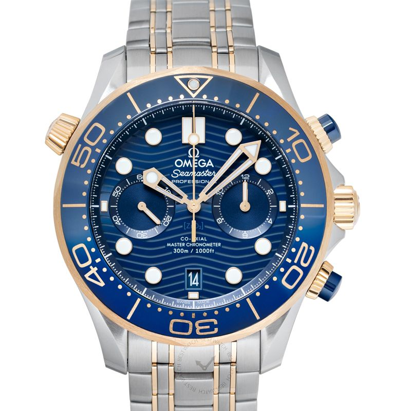 Omega Seamaster Diver 300 M Co-Axial Master Chronometer Chronograph 44mm Automatic Blue Dial Yellow Gold Men's Watch