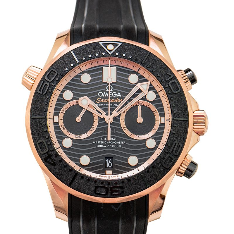 Omega Seamaster Co-Axial Master Chronometer Chronograph 44 mm Automatic Black Dial Gold Men's Watch