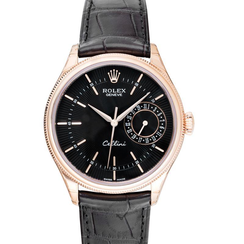 Rolex Cellini Date Black/Leather Ø39mm