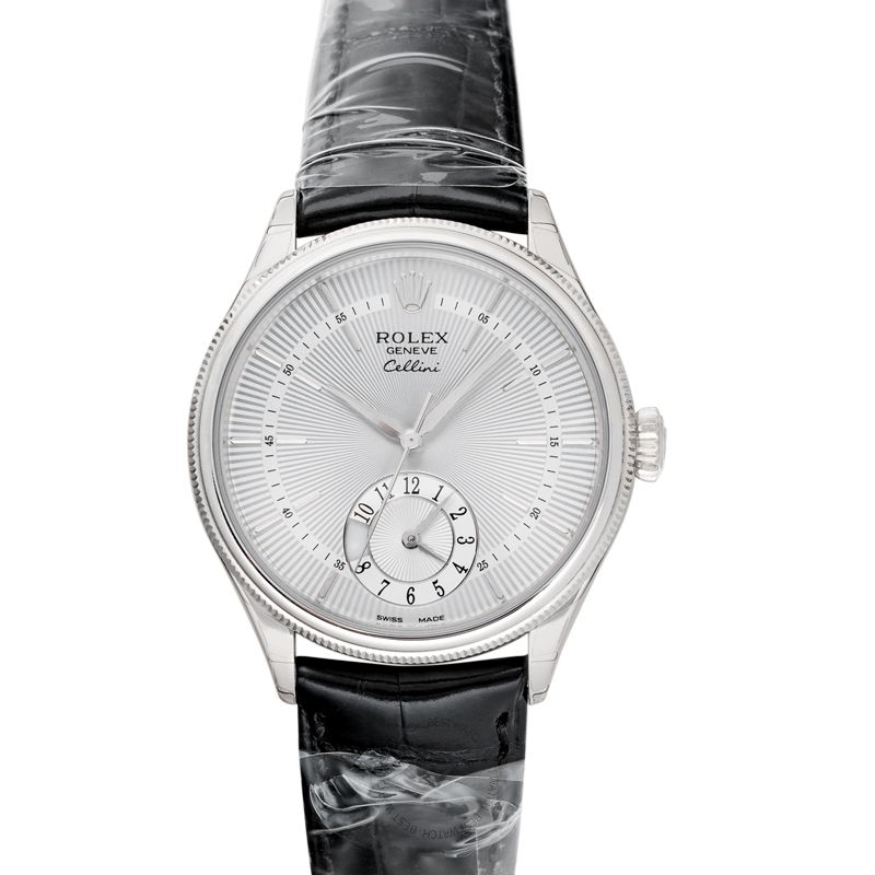 Rolex Cellini Dual Time Silver/Leather Ø39mm