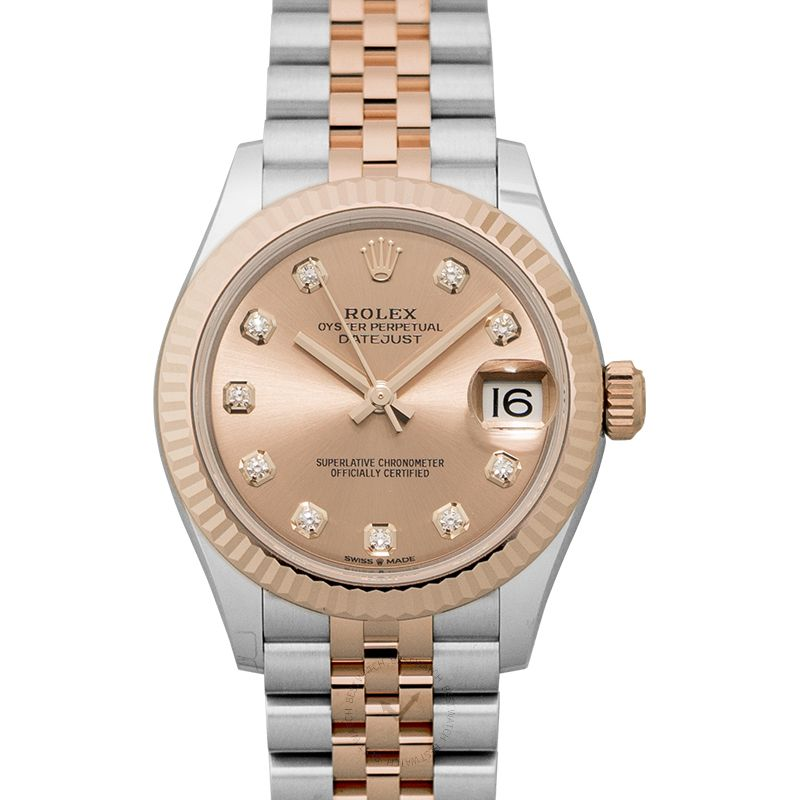 Rolex Datejust 31 Automatic Rose Dial Diamond Indexes Steel and 18kt Everose Gold Ladies Watch