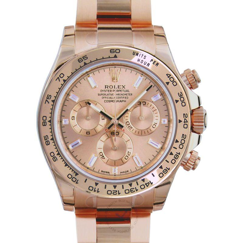 勞力士 地通拿 Daytona腕錶系列 116505A/Pink with Baguette